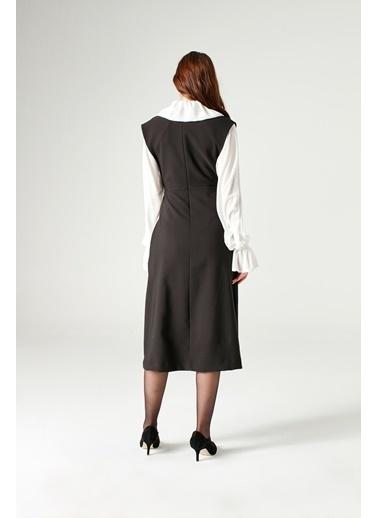 Mizalle Jile Elbise  Siyah